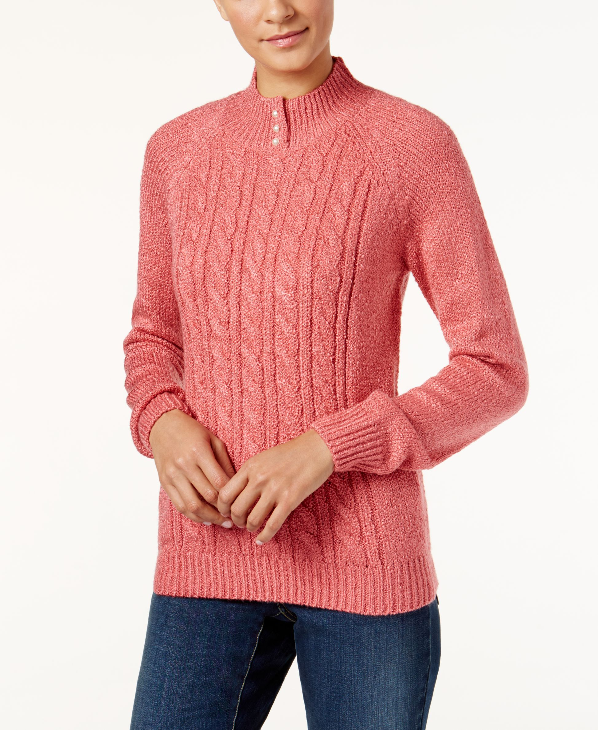 Karen Scott Petite Marled Cable-Knit Mock-Neck Sweater, Only at ...