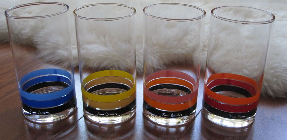 4 Sasaki Japan Pierre Cardin Bold Colors Striped Signed Highball Bar Glasses
