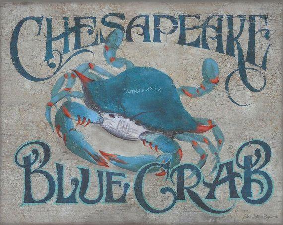 Chesapeake Bay Blue Crab  art decor print vintage  style  chesapeake bay seafood