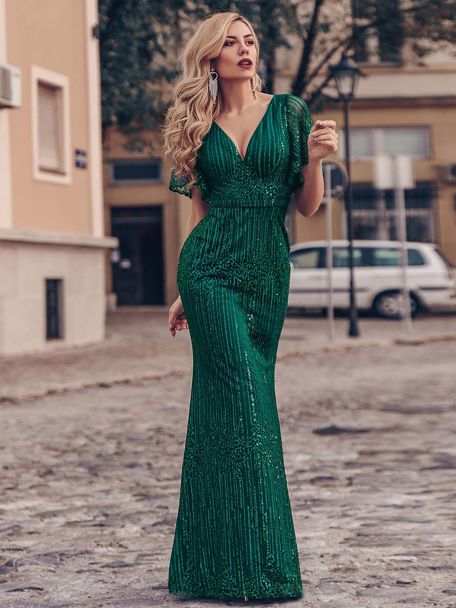 Ever-Pretty Elegant V-Neck Sequin Bodycon Long Evening Dress Cocktail Party Gown