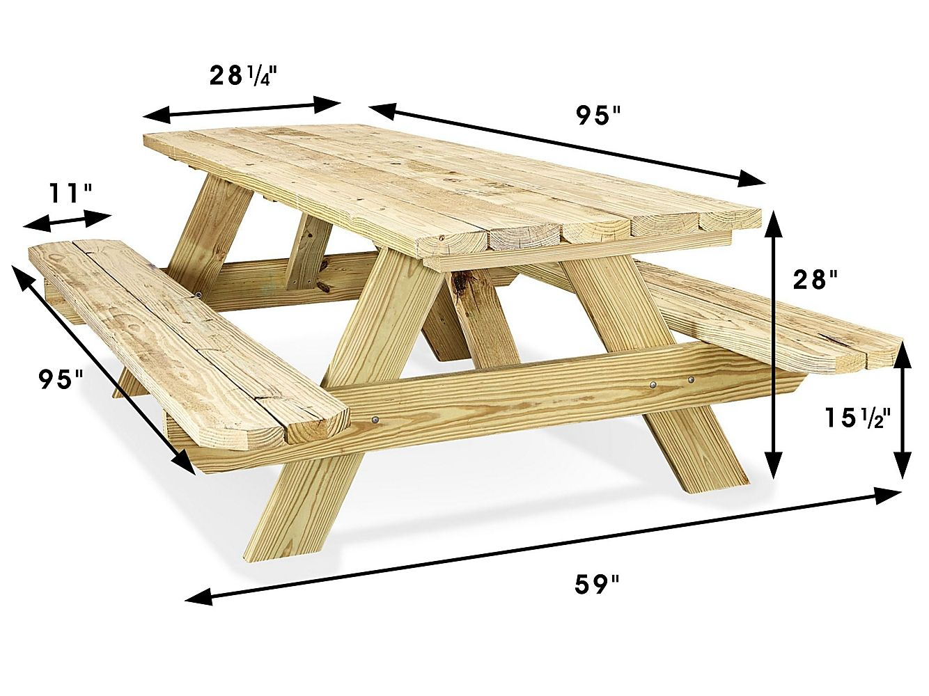 Economy A Frame Wooden Picnic Table 8 H 5163 Uline Wooden