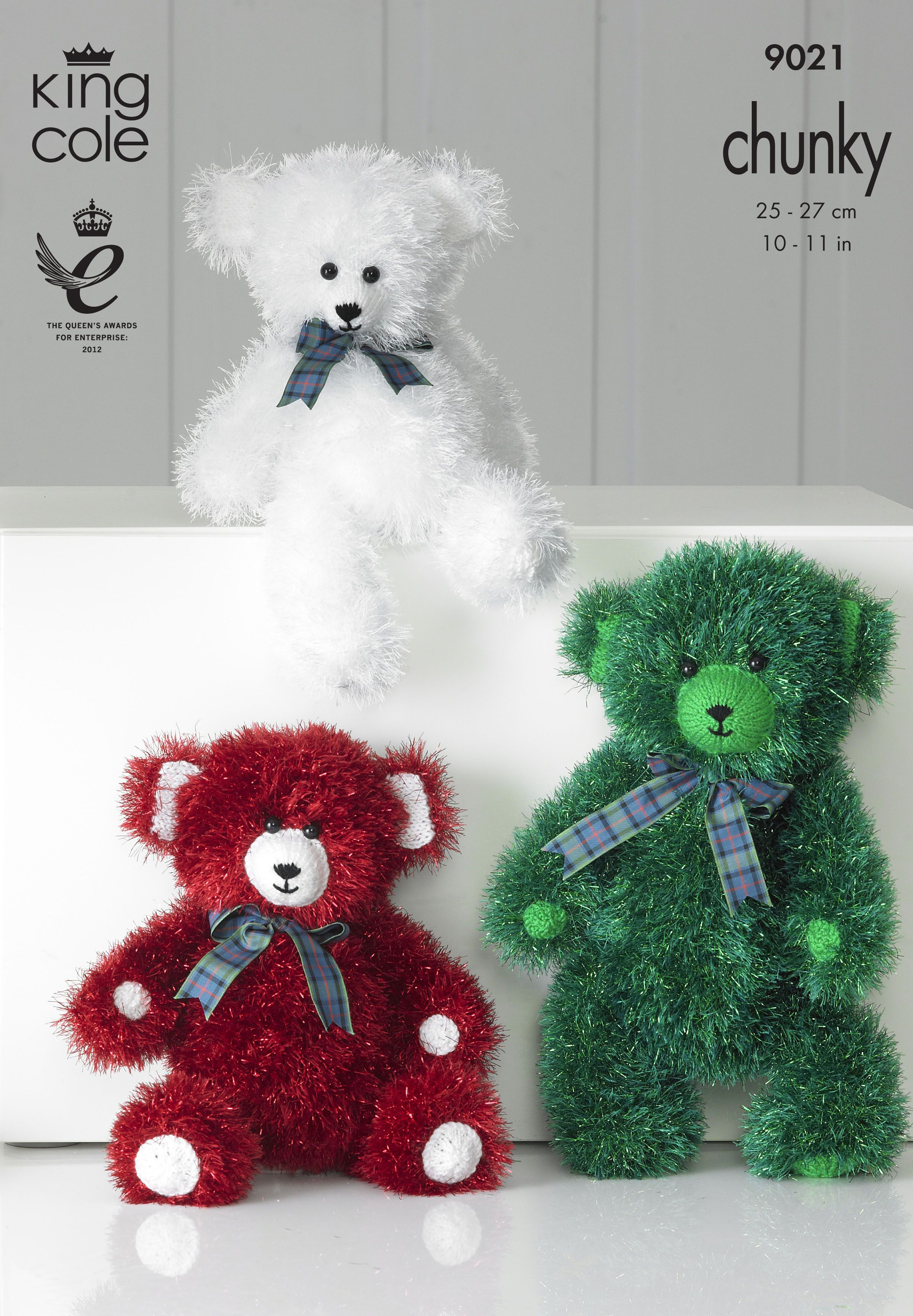 Knitted tinsel chunky teddies king cole toys and novelties king cole tinsel chunky knitting pattern 9021 teddy bear toys family to knit small large bankloansurffo Gallery