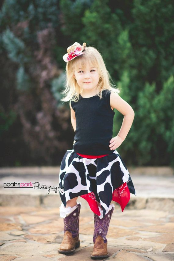 Cowgirl rodeo Bandana Skirt with matching by RecycledTsandThings, $15.00