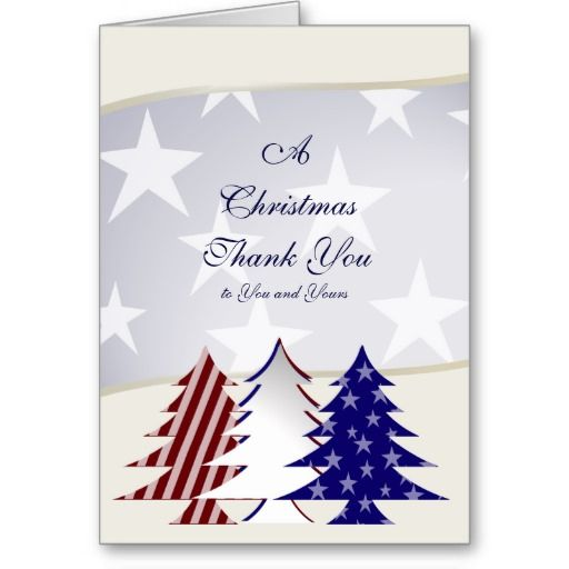 Patriotic Christmas Trees Military Thank You Cards  Patriotic
