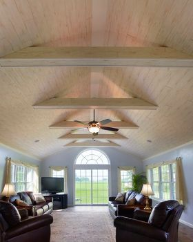 Vaulted Ceiling Design Use Cherry Or Maple Planks For