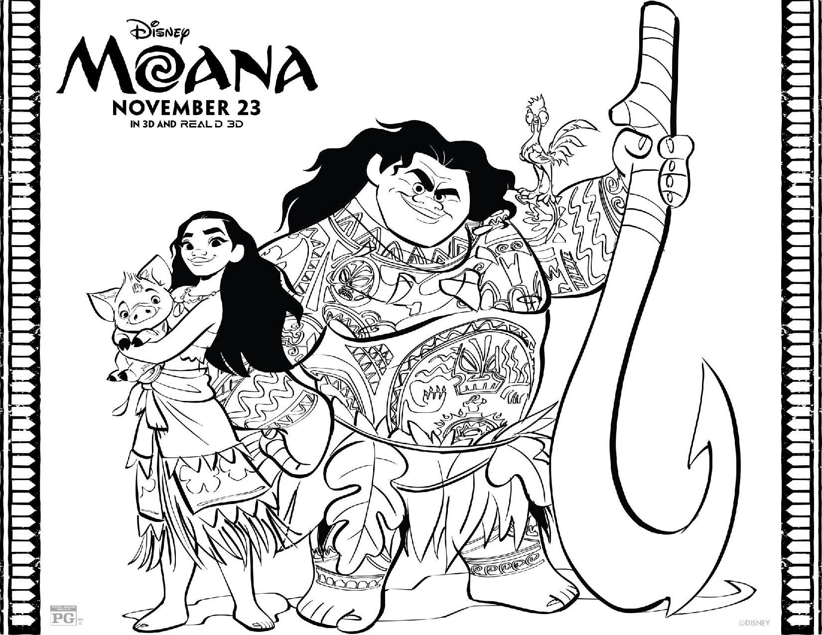Download FREE Moana Coloring Pages And Games From The Disney Movie