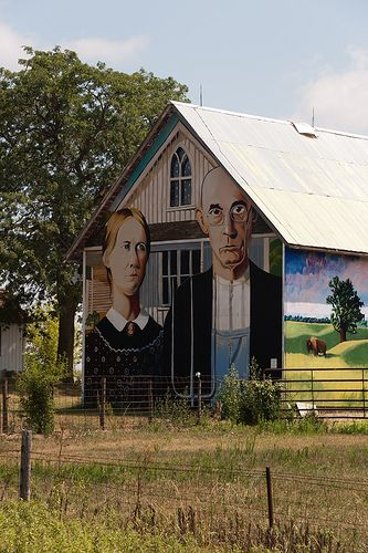 Hand-painted American Gothic Building Near Marion, Iowa