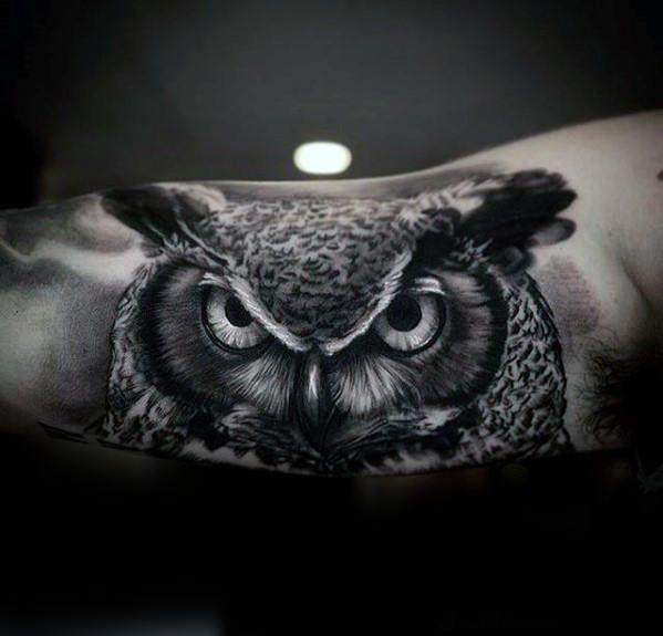 Best Tattoo Trends - Black And Grey Owl Inner Arm Realistic Tattoo ...