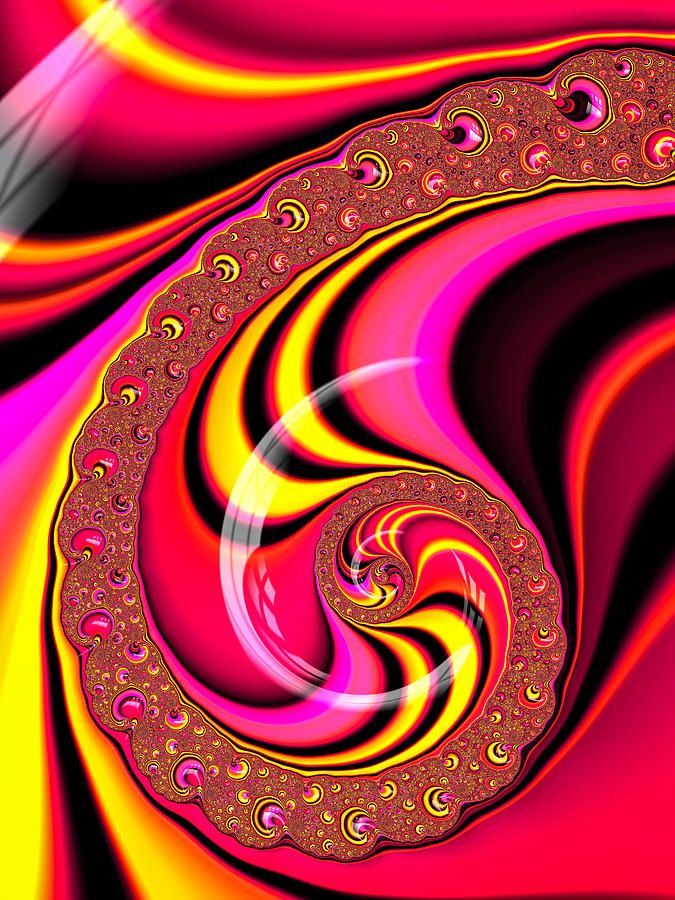 Colorful spiral: Colorful abstract art based on a fractal, candy-colored spiral red, yellow, pink and black. Available as poster, framed fine art print, metal, acrylic or canvas print. (c) Fractal Art Prints by Matthias Hauser fractal-art-prints.com - Fractals for your Home Decor and Interior Design needs.