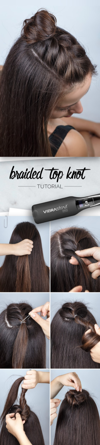 There are endless hairstyle options to choose from... up, down, braided, top knot… so what do you choose?! With the braided top knot, you don't have to choose just one! Use your VIBRASTRAIT to create this fun and easy summer look!