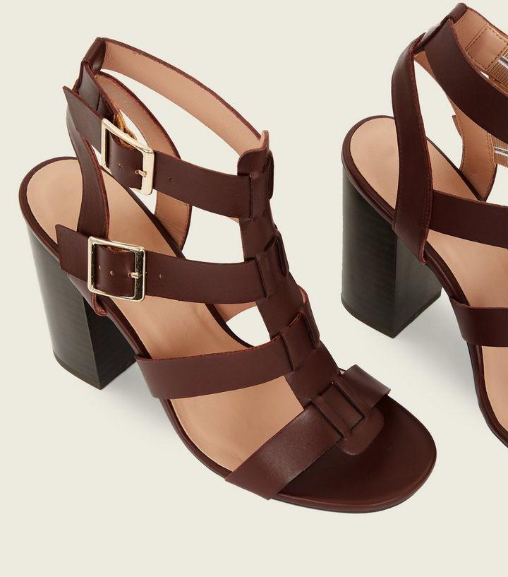 56292e6c2486 Rust Wooden Block Heel Gladiator Sandals