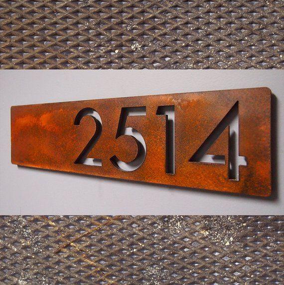 Custom Modern Floating House Numbers Horizontal Offset In Rusted Steel