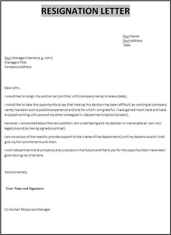 Resignation Letterletter Of Template Free