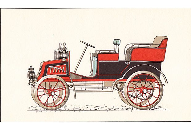 Double Phaeton Car Lithograph, C. 1920 on OneKingsLane.com  Poppops den