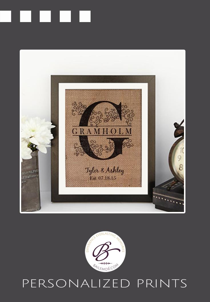 Monogram burlap family establish print wedding or anniversary gift.
