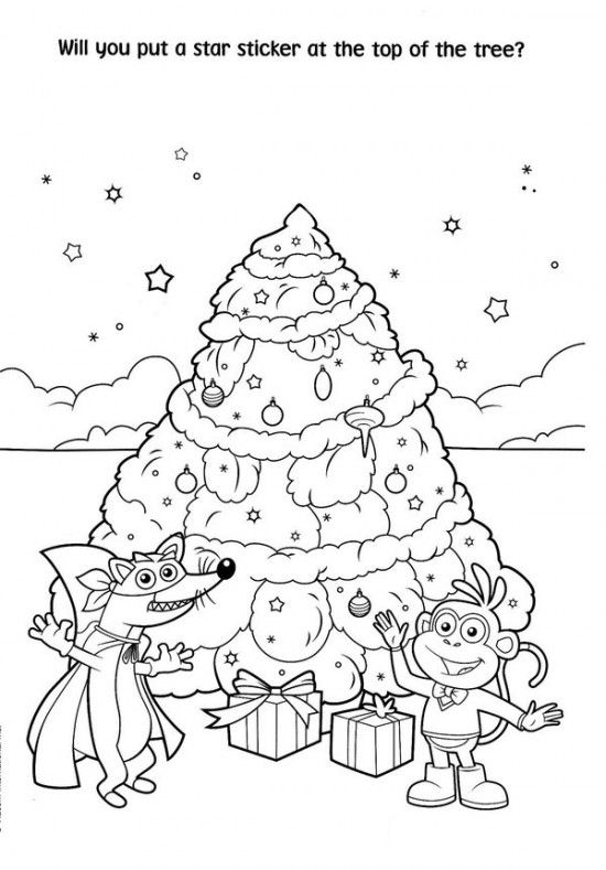 Free Printable Dora Christmas Coloring Pages Picture 60