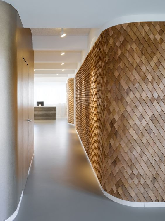 Beautiful Wooden Shingle Wall Art Looks Luxurious Curved Walls Interior Architecture Design Timber Feature Wall