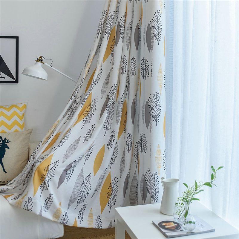 Environmental Protection Blackout Curtain American Style Leaf Printing Room Darkening Bedroom Yellow Curtains Living Room Curtains Living Room Curtains #yellow #and #gray #curtains #for #living #room