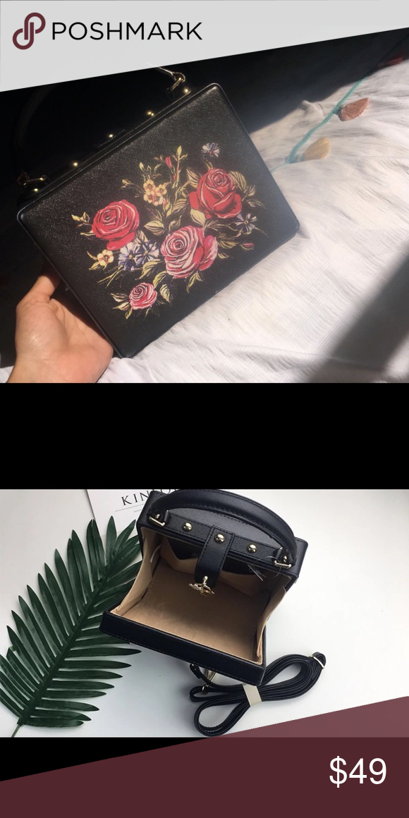 Mini Box Shape Handbag Or Crossbody Black Pu Red Flower Fashion