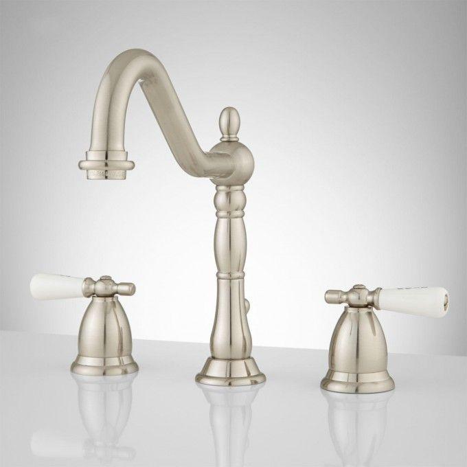 Victorian Widespread Bathroom Faucet - Small Porcelain Lever Handles ...