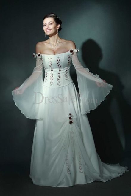 2012 hot sale poet sleeves for chiffon off the shoulder for Celtic wedding dresses for sale