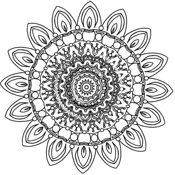 Instant PDF Download Coloring Page Hand Drawn Zentangle Inspired \