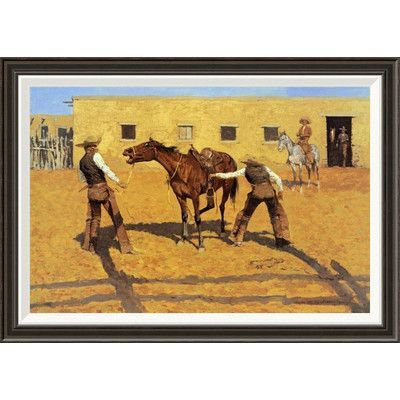 """Global Gallery 'His First Lesson' by Frederic Remington Framed Painting Print Size: 24"""" H x 34"""" W x 1.5"""" D"""