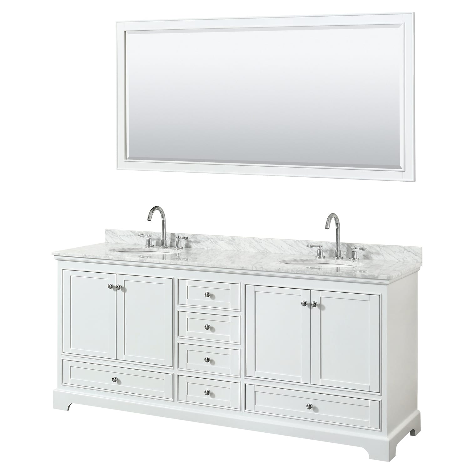 Deborah 80 Inch White Double Vanity Oval Sinks 70 Inch Mirror
