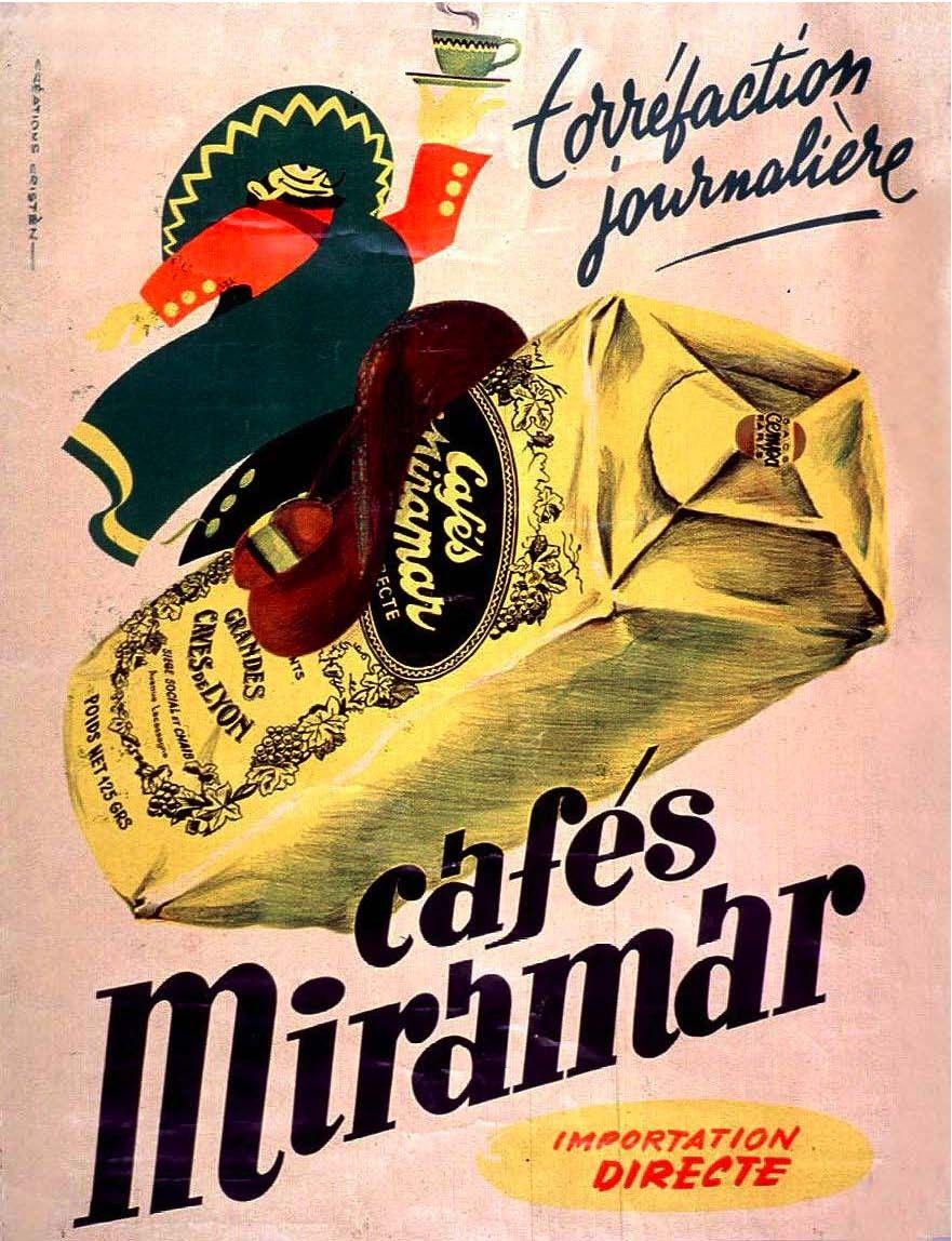 Vintage French Advertisements 11x14 Cafes Miramar. Coffee. Bistro ...
