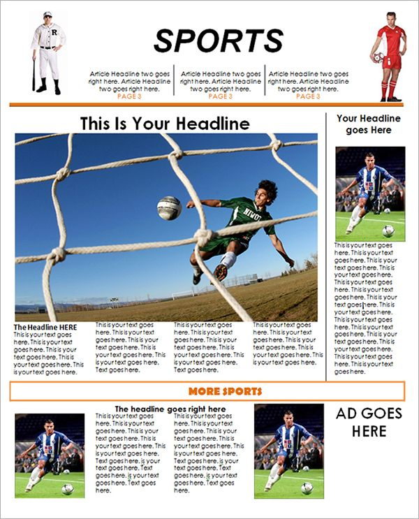 Free Sports Newspaper Template Microsoft Word Fondos Para Fotos