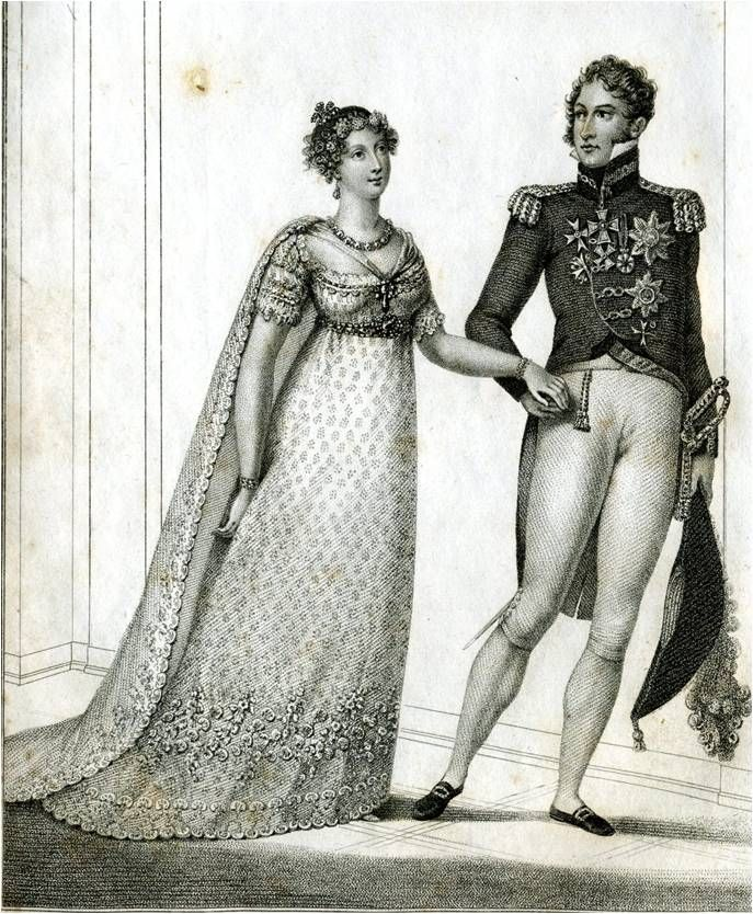 Princess Charlotte's wedding dress, 1816. White silk net, embroidered in silver strip, trimmed with silver lace
