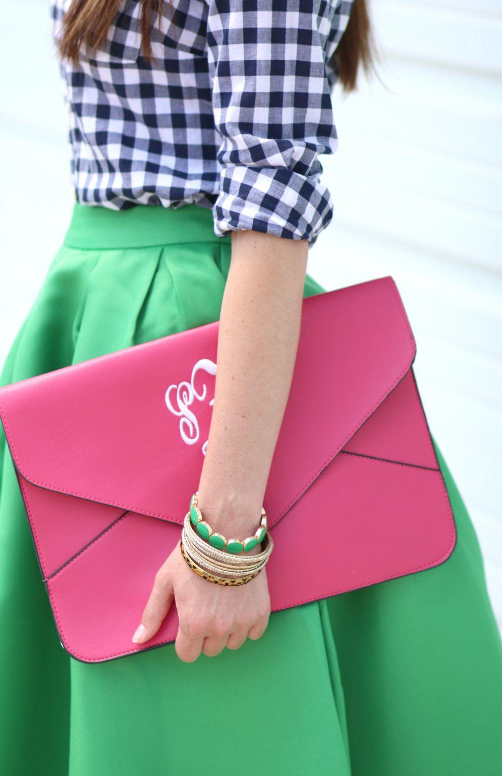 Kelly Green Midi Skirt + Emerald Jewels