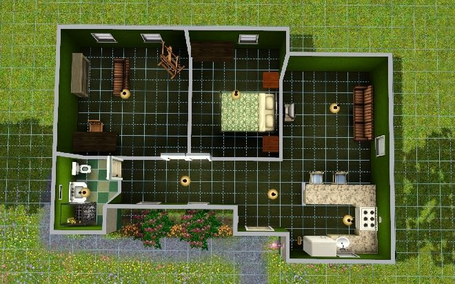 Simple Starter Home For A Sim Sims House Plans Sims House Sims House Design
