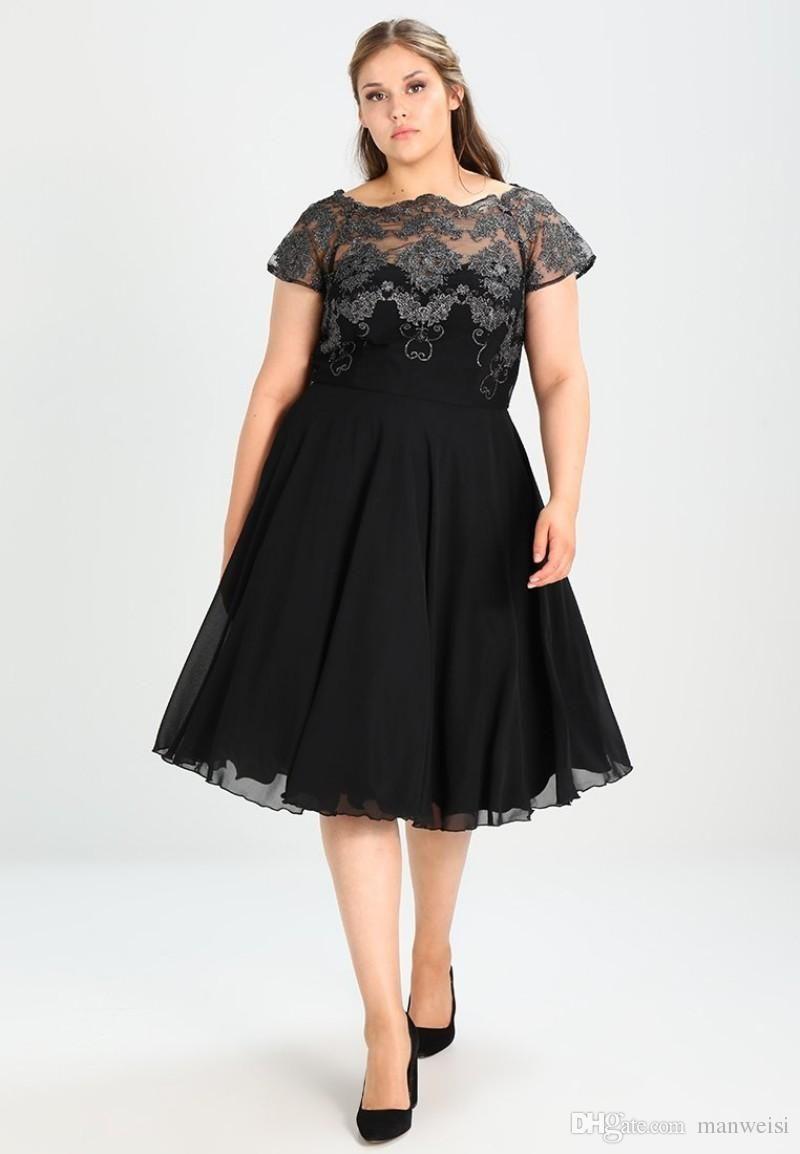 Cheap Black Plus Size Formal Prom Dresses Knee Length A Line Short ...