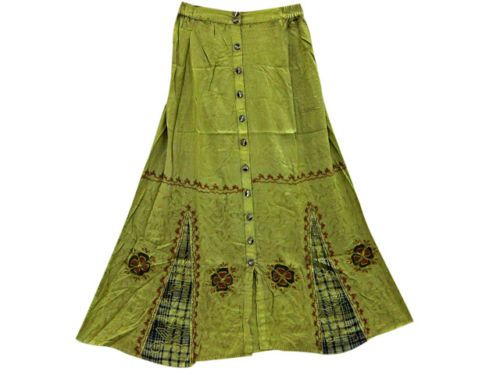 HIPPIE BOHO LONG SKIRT GREEN ARI EMBROIDERED RAYON GYPSY PEASANT MAXI SKIRT 36""