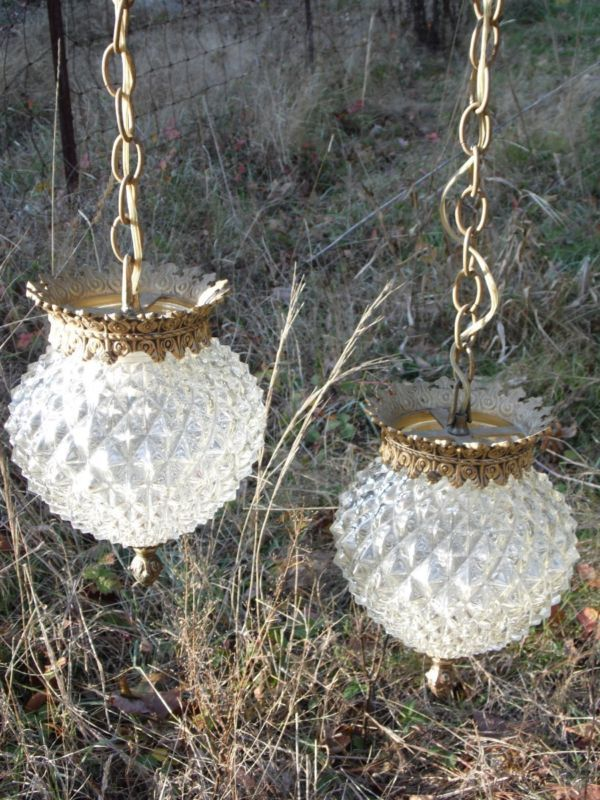 Vintage diamond point glass globe double pendant swag lamp hanging vintage diamond point glass globe double pendant swag lamp hanging chandelier aloadofball Choice Image