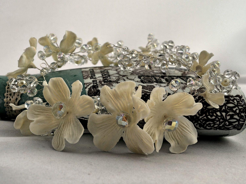 Trendy bridal headpiece - Bridal Wreath Ivory Wedding Headpiece Delicate Floral Hair Vine Flowers And Crystals Headband