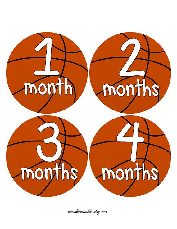 Baby Monthly Sports Stickers Baby Shower gift 1-12 Month stickers Infant Milestone stickers Month stickers Girl monthly stickers Basketball
