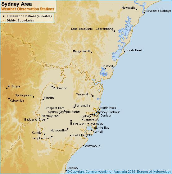 Sydney Area Weather Observation Stations Observation