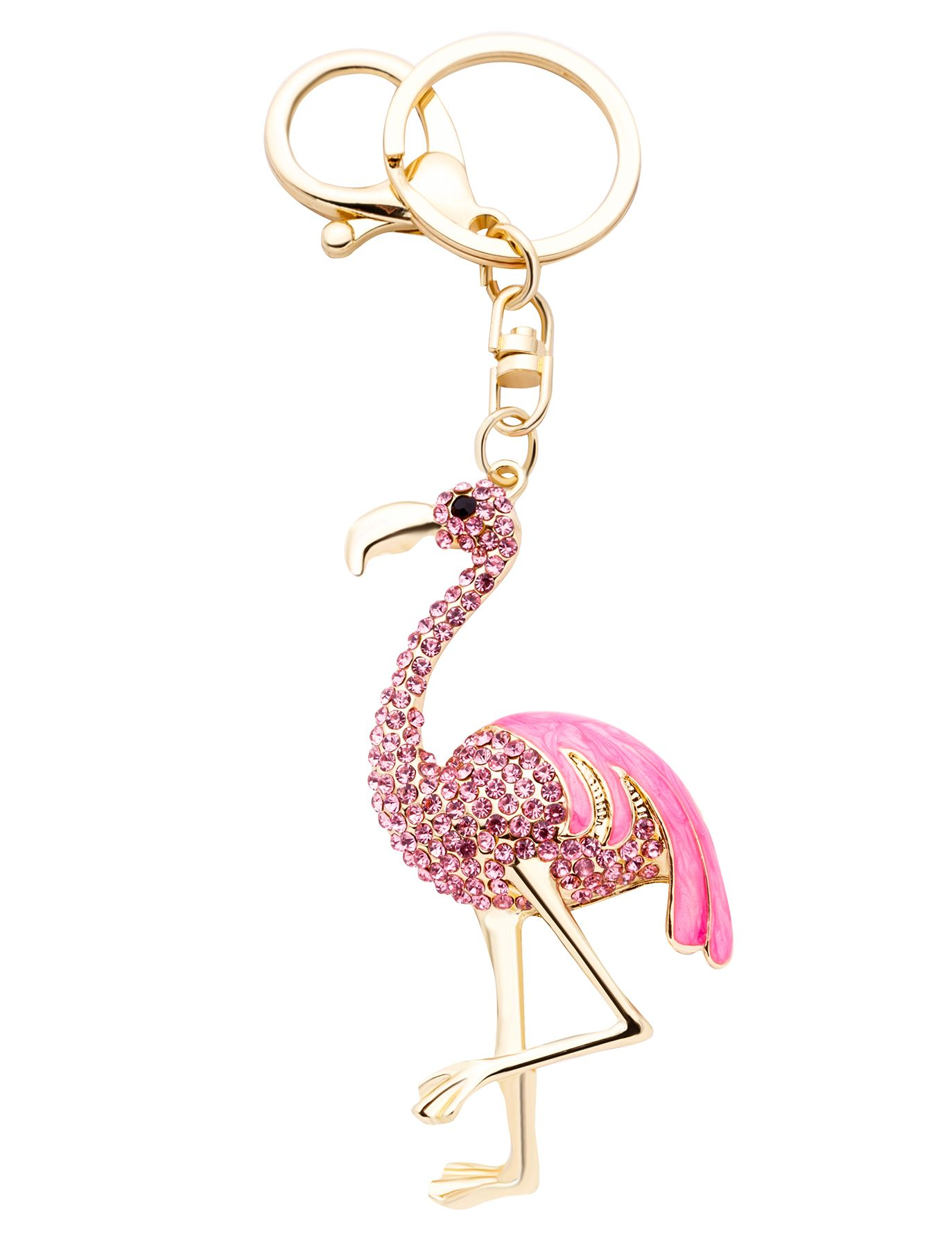 Pink Flamingo Rhinestone Encrusted Keychain Online Shein Offers More To Fit Your Fashionable Needs