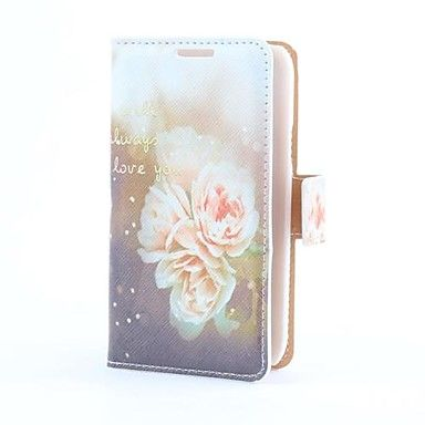 Flower Style Pu Laederetui Med Kort Slot Og Stander Til Samsung
