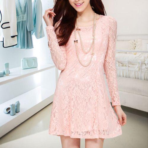 Fashion Round Neck Long Sleeve Gathered Waist Lace Dress