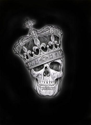Skull Crown Tattoo On Black Background | Tattoobite.com
