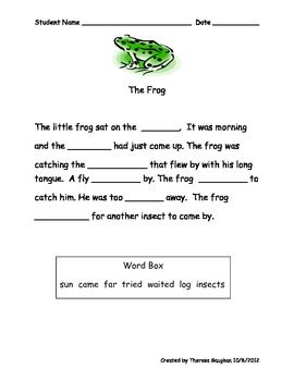 Cloze Passages for Beginning Readers | Learning from First