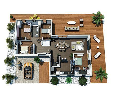 Cette maison moderne plain-pied aux lignes épurées, offre une - plan de maison de 100m2 plein pied