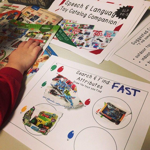 Speech Room News Toy Catalog Language Cut & Paste Activity