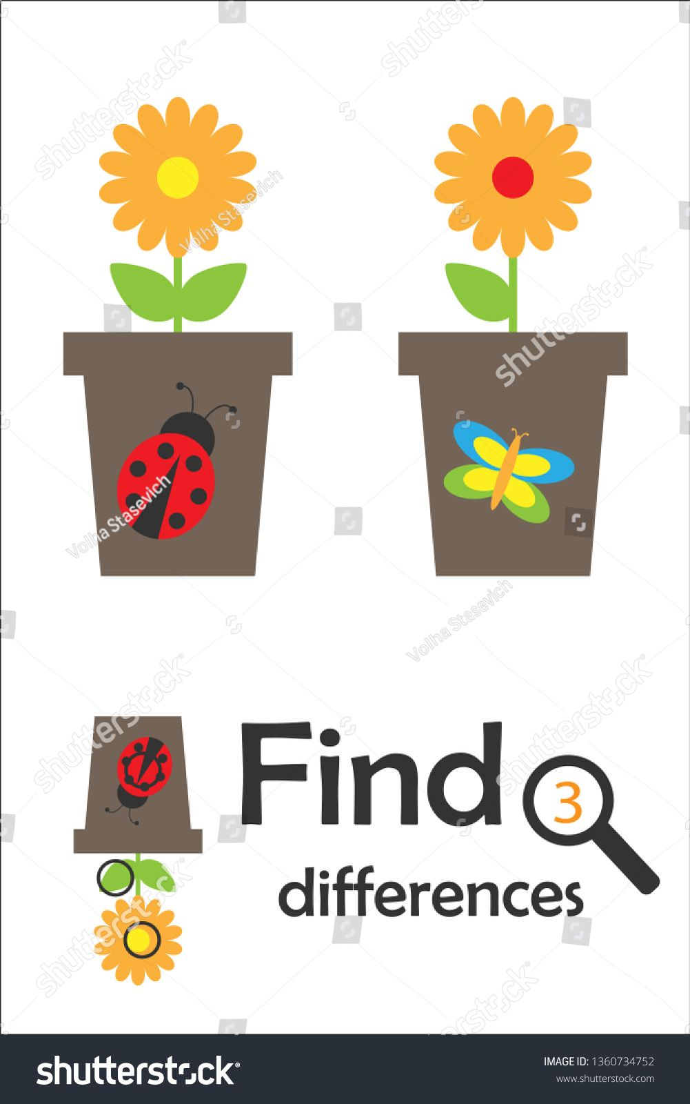 Find 3 Differences Game For Children Pot With Flower In Cartoon Style Education Game For Kids Educational Games For Kids Cartoon Styles Preschool Worksheets [ 1600 x 1001 Pixel ]