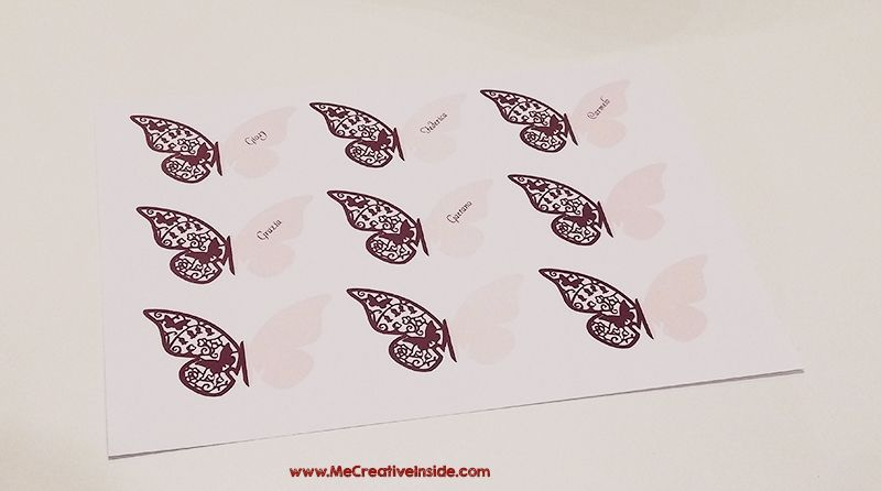 Me creativeinside Danza sulle ali colorate, un segnaposto per Kreattiva farfalla carta