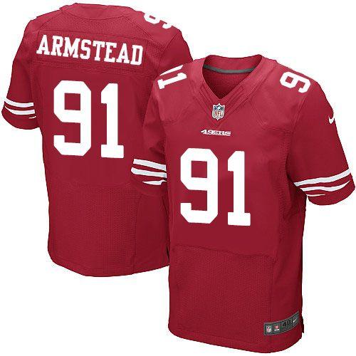 Men's San Francisco 49ers #91 Arik Armstead Scarlet Red Team Color Stitched NFL Nike Elite Jersey