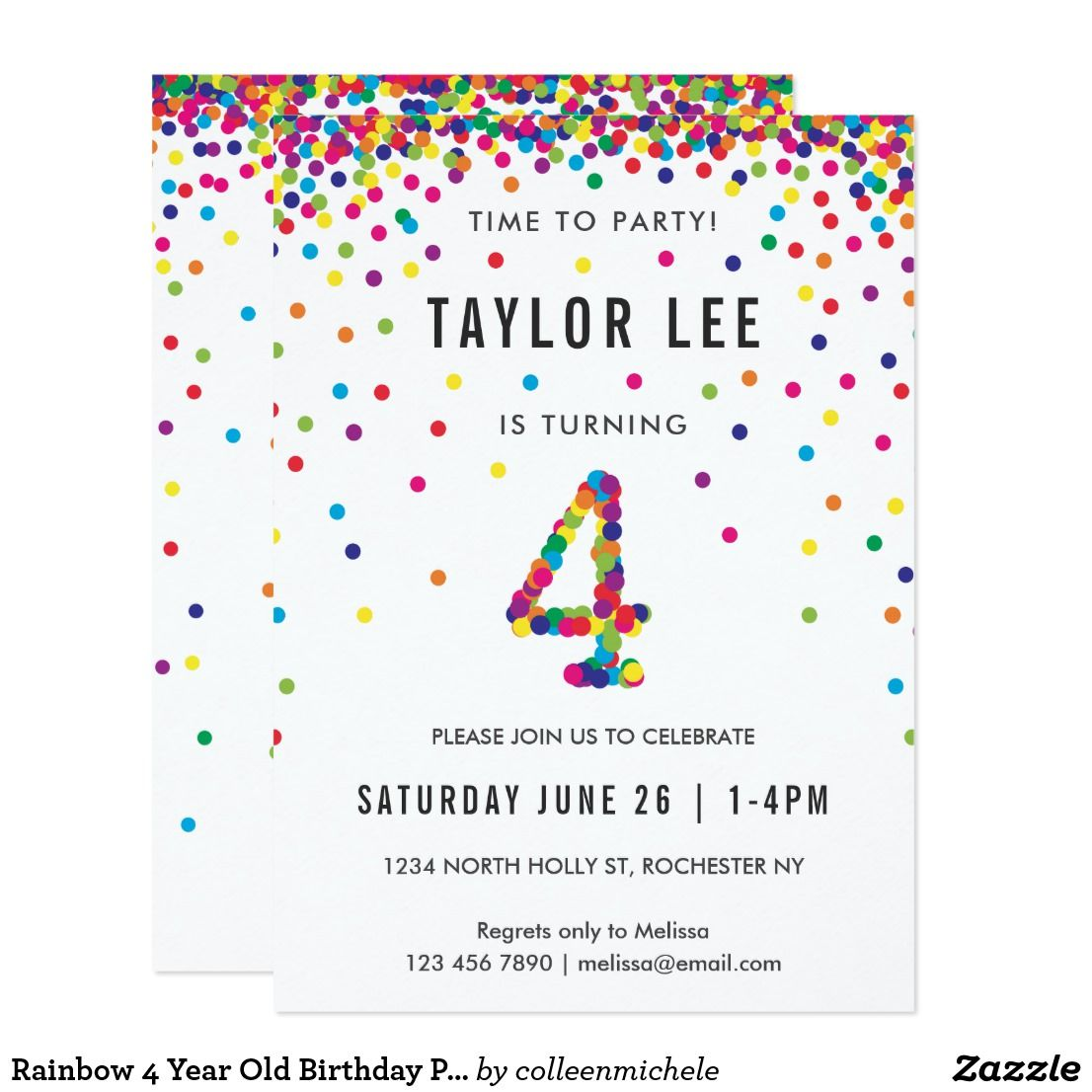 Rainbow 4 Year Old Birthday Party 4th Bday Invitation